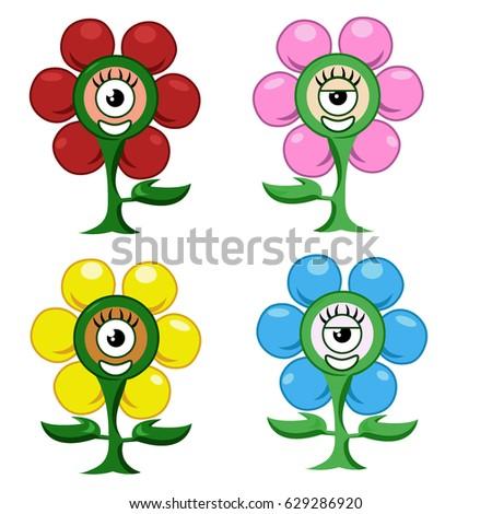 set of flower monster plant