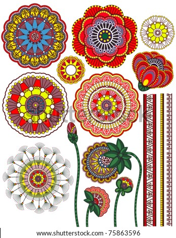 Set of flower parts and decorative ornaments
