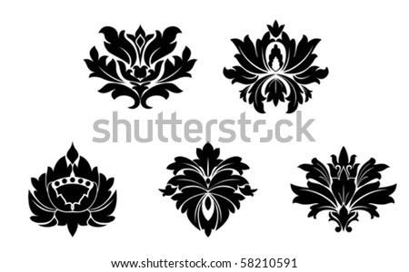 Set of flower patterns. Jpeg version also available