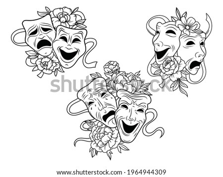 Set of flower tragedy and comedy theater masks. Collection of theatrical masks with floral wreath. Design for clothes or postcard. Vector illustration of carnival masks. Botanical. Tattoo. Stockfoto ©