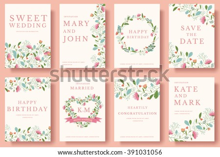 Set of flower wedding ornament concept. Art traditional, magazine, book, poster, abstract, element. Vector layout decorative ethnic greeting card or invitation design background #391031056