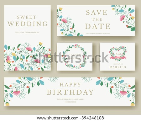 set of flower wedding ornament