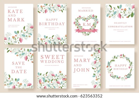 Set of flower wedding ornament concept. Art traditional, magazine, book, poster, abstract, element. Vector layout decorative ethnic greeting card or invitation design background #623563352