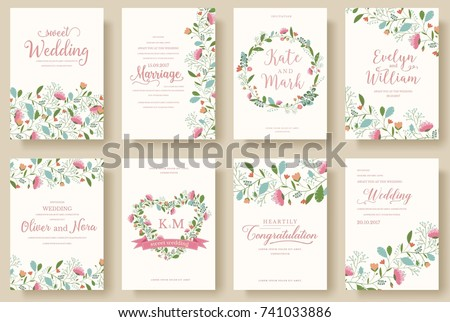 Set of flower wedding ornament concept. Art traditional, magazine, book, poster, abstract, element. Vector layout decorative ethnic greeting card or invitation design background #741033886