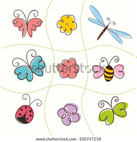Set of flowers and butterflies. Insects. Vector illustration.