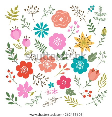 stock vector set of flowers and floral elements isolated on white background 262455608 - Каталог — Фотообои «Цветы»
