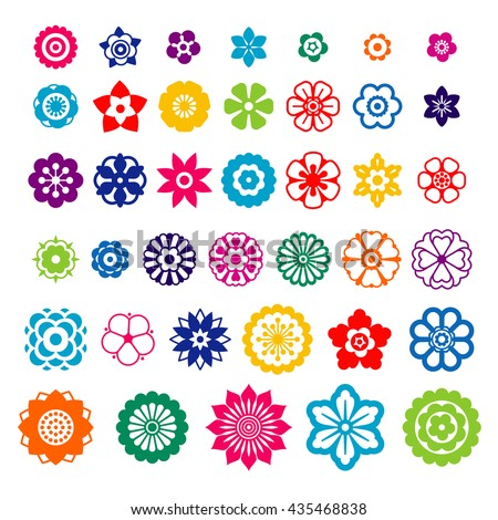 Set of flowers design elements for brushes, background, banners, logo, icon, pattern, beauty products and advertising. Flat colorful flower icon collection. Vector illustration. #435468838