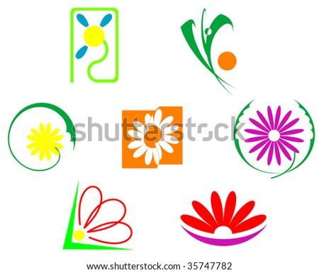 Set of flowers icons isolated on white - abstract emblem or logo template. Jpeg version also available