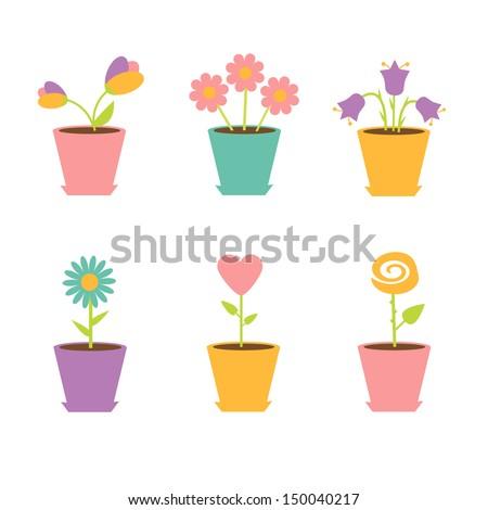 Set of flowers in pots. Vector illustration
