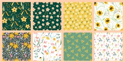 Set of Flowers Vector Seamless Pattern. Ditsy style. Pattern for fashion and print.