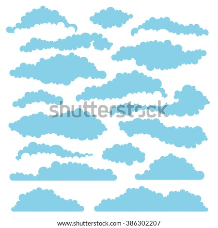 set of fluffy clouds for design