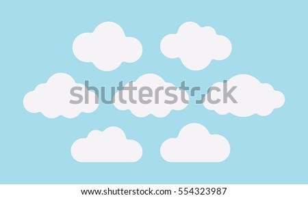 set of fluffy white clouds on