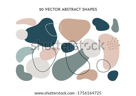 Set of fluid abstract shapes in trendy minimal design and pastel green, pink color. Vector geometric elements for background, cover templates, patterns, logos. Photo stock ©