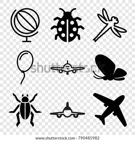 set of 9 fly filled and outline