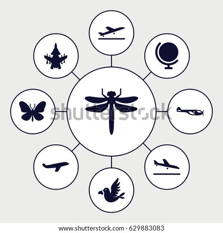 set of 9 fly filled icons such