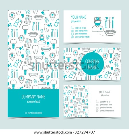 Set of flyer, brochure and business cards for dental clinic. Set of promotional products. Flat design. Vector illustration