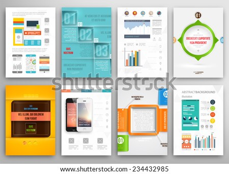 Set of Flyer Brochure Design Templates Geometric Triangular Abstract Modern Backgrounds Mobile Technologies Applications and Online Services Infographic Concept