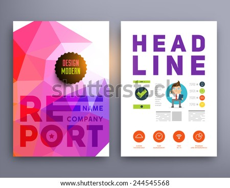 Set of Flyer, Brochure Design Templates. Geometric Triangular Abstract Modern Backgrounds. Mobile Technologies, Applications and Online Services Infographic Concept. Typographic Emblems, Logo, Banners #244545568