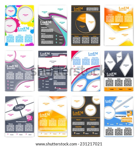 Set of flyer brochure or magazine cover template