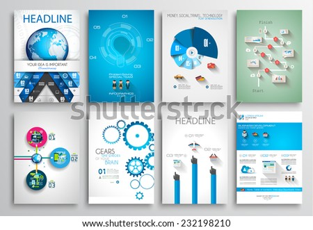 Set of Flyer Design, Web Templates. Brochure Designs, Technology Backgrounds. Mobile Technologies, Infographic  ans statistic Concepts and Applications covers. stock photo