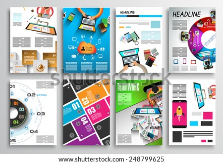 Set of Flyer Design Web Templates Brochure Designs Technology Backgrounds Mobile Technologies Infographic ans statistic Concepts and Applications covers