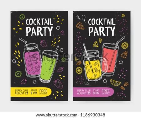 Set of flyer or cocktail party invitation templates with tasty soft drinks or refreshing tropical fruit beverages in jars and glasses with straws. Colored vector illustration for event advertisement. #1186930348