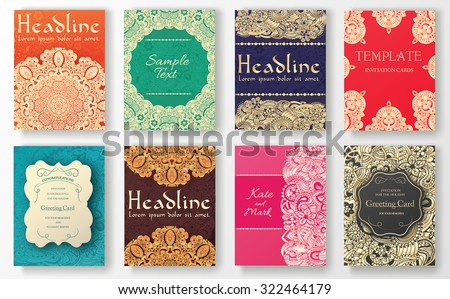 Art deco wedding invitation vector download free vector art stock set of flyer pages ornament illustration concept vintage art traditional islam arabic stopboris Gallery