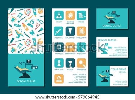Set of flyerand business cards for dental clinic. Set of promotional products. Flat design. Vector illustration.