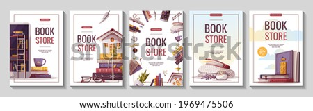 Set of flyers for bookstore, bookshop, library, book lover, e-book, education. A4 vector illustration for poster, banner, advertising, cover.