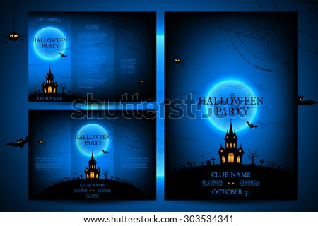 Set of flyers for halloween vector illustration. Templates of posters with terrible house on blue background. Halloween party greeting cards.