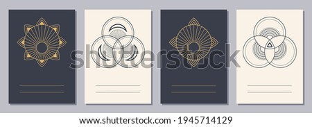 Set of flyers, posters, placards, brochure design templates A6 size with geometric icons. Symbols for alchemy or sacred geometry. Vertical blanks with sacral geometric signs. Esoteric symbols.
