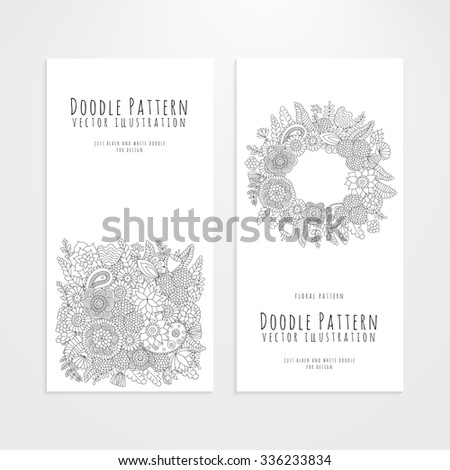 Set of flyers with black and white flower doodle pattern. Vector elements