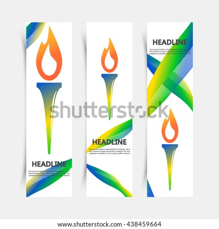 set of flyers with torch vector