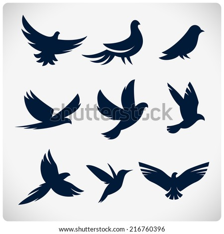 set of flying birds sign dark