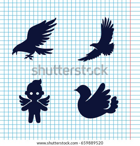 set of 4 flying filled icons
