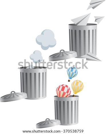 set of flying objects in trash