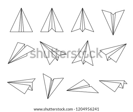 set of fold paper airplane inculde side and front view, outline editable stroke
