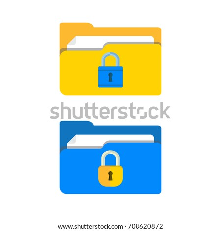 Set of folders with lock icon. File protection. Data security and privacy concept. Safe confidential information. Modern flat design illustration concept