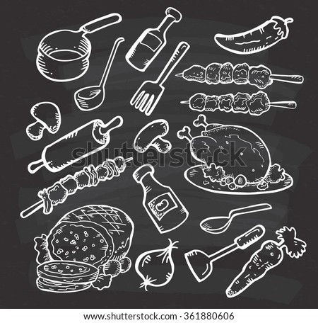 Set of food and cooking utensil on chalkboard background