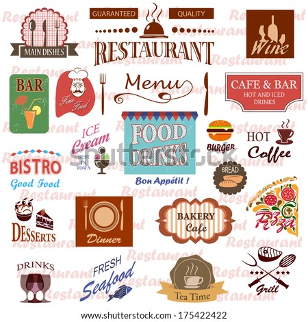 Set of food and drink labels icons for restaurant and cafe