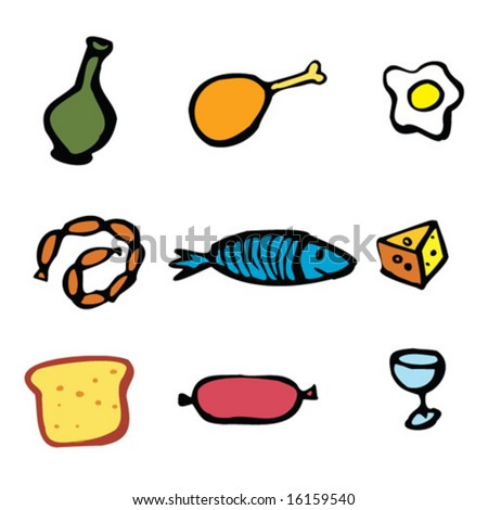 Set of food and drinks objects stock vector