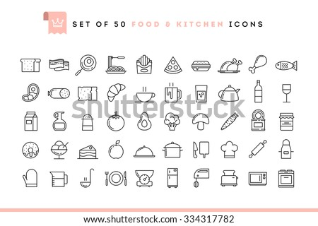 set of 50 food and kitchen