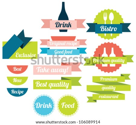 Set of food badges, labels and icons - stock vector