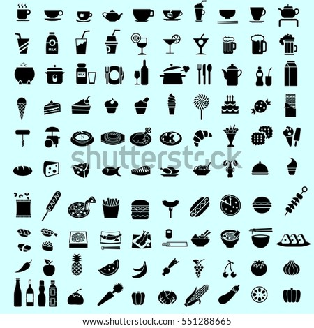 set of food black icon and