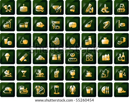 Set of food, drink and grocery symbols