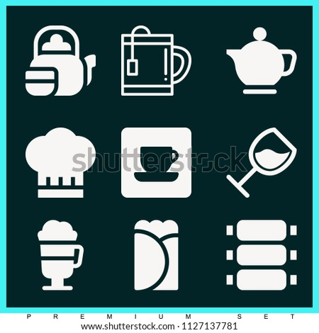 Set of 9 food filled icons such as chef, glass with wine rotated in diagonal position, teapot, tea, irish coffee, burrito, coffee