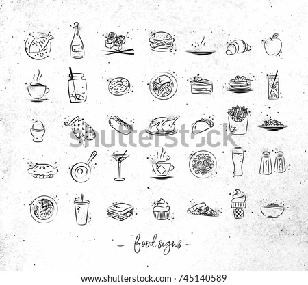 set of food icons drawing with