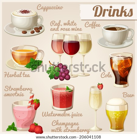 set of food icons drinks cup