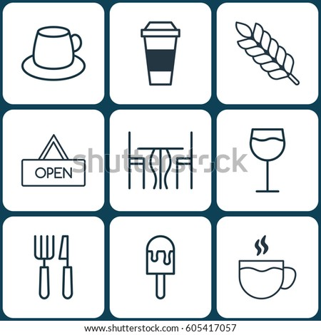 set of 9 food icons includes
