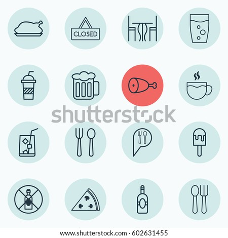 Set Of 16 Food Icons. Includes Fried Poultry, Cutlery, Lolly And Other Symbols. Beautiful Design Elements.